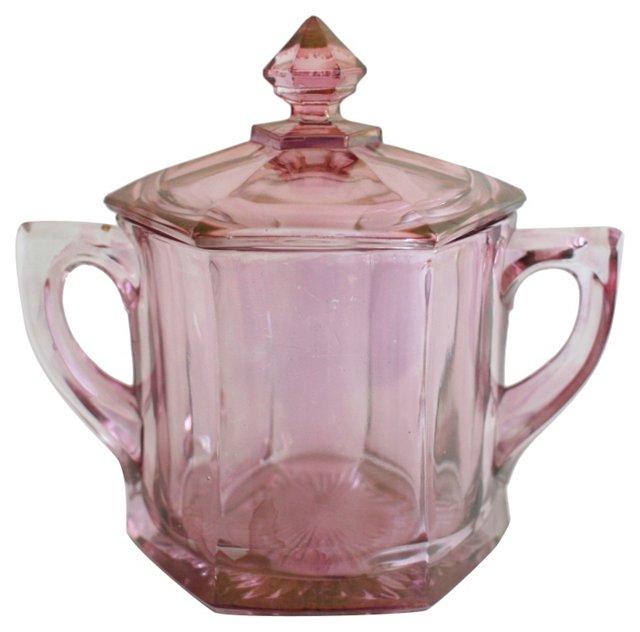 Pink Glass Lidded Jar