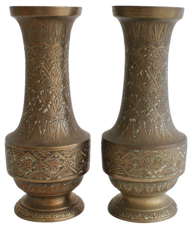 Incised Brass Vases, Pair