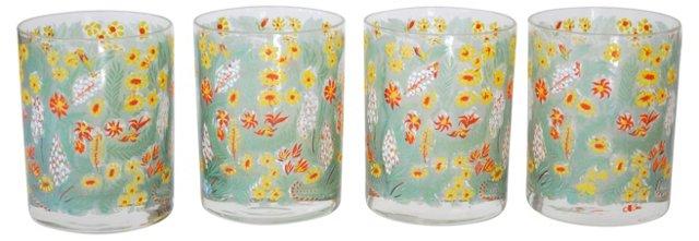 Floral Cora Glasses, S/4