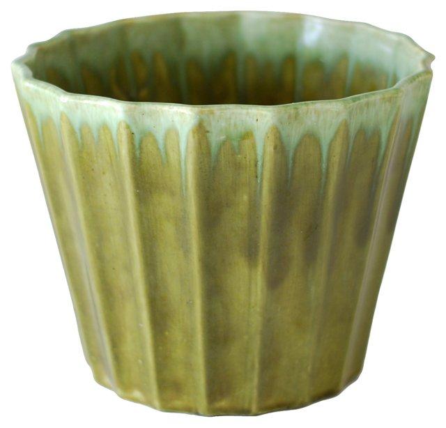Green Ceramic Drip Planter