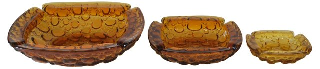 Blenko Amber Glass Ashtrays, S/3
