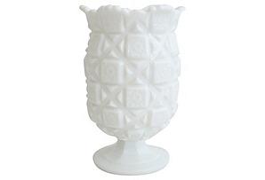 Quilted  Milk Glass Vase