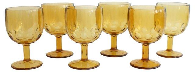 Large Amber Goblets, Set of 6