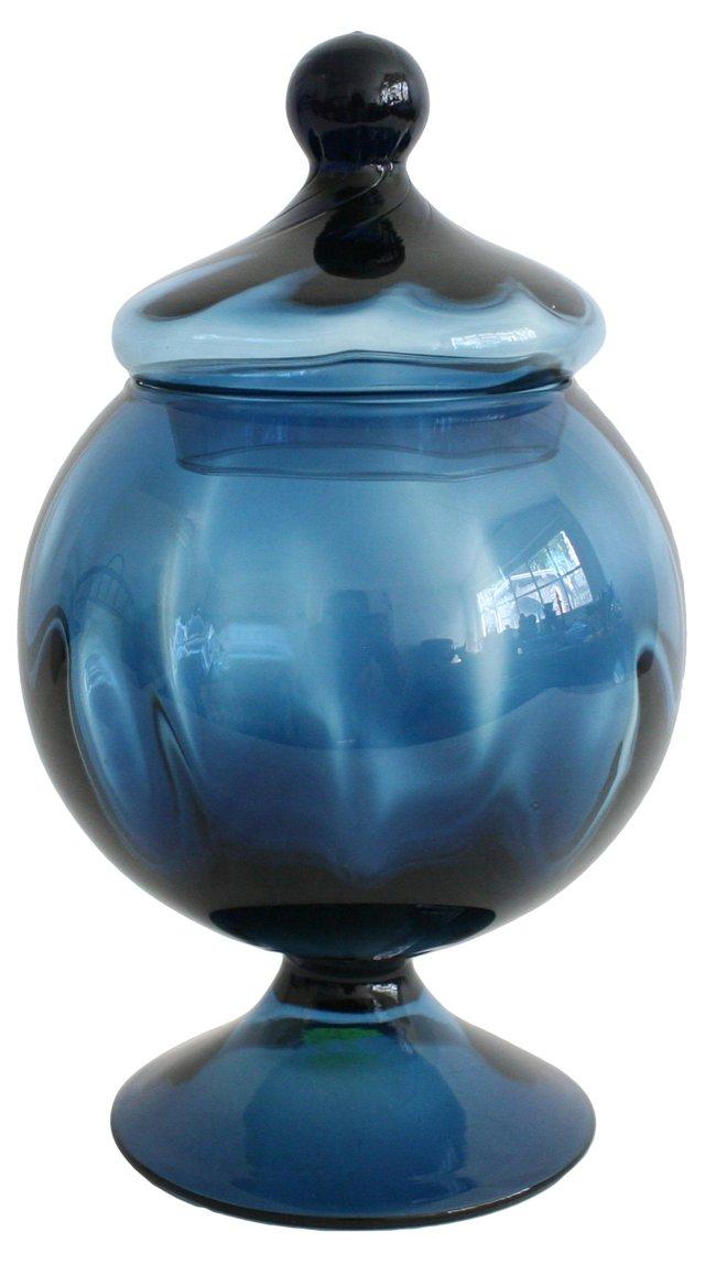 Blue Blown Glass Pedestal Dish