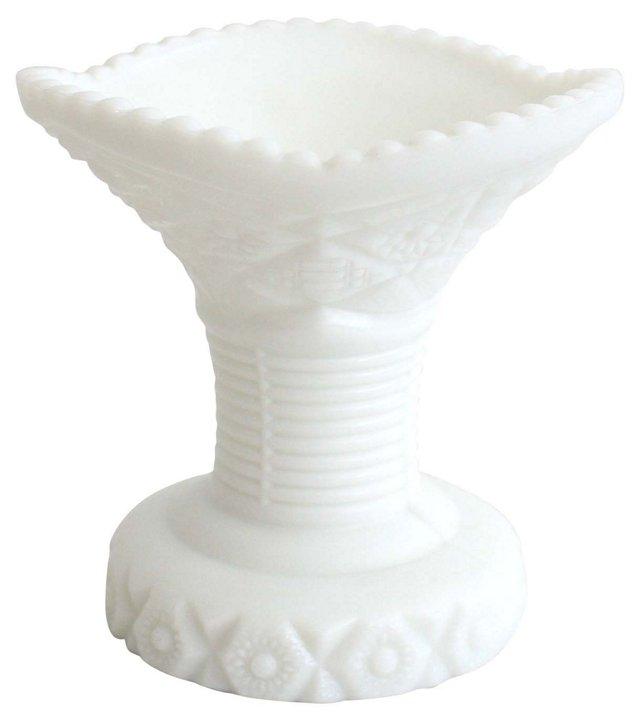 Fluted Milk  Glass Vase