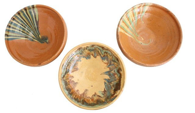 French Pottery Bowls, S/3