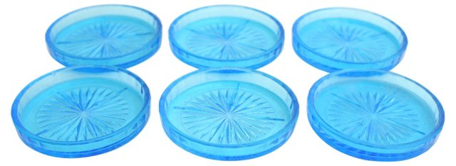 Blue Glass Coasters, S/6