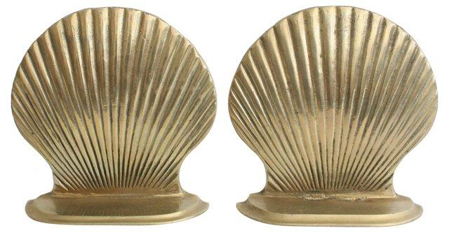 Brass Clamshell Bookends