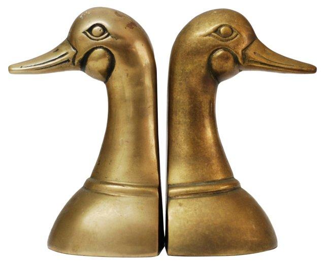 Brass  Mallard  Bookends