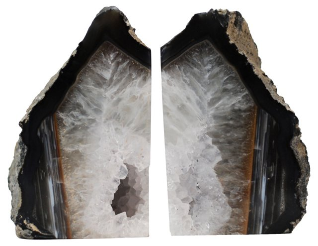 Black & Gray Agate Bookends
