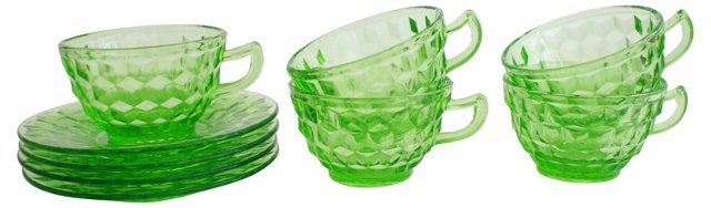 Green Glass Teacups & Saucers, 9 Pcs
