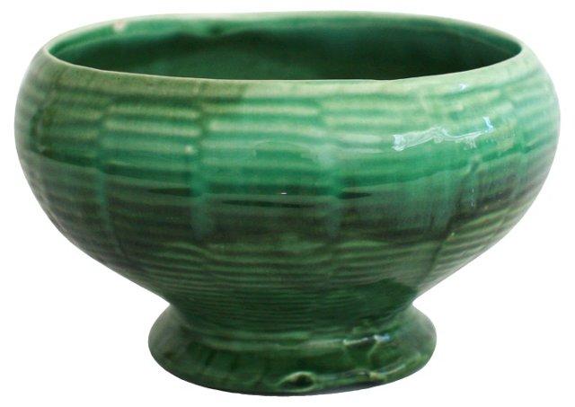 Midcentury Green Drip Glaze Pot