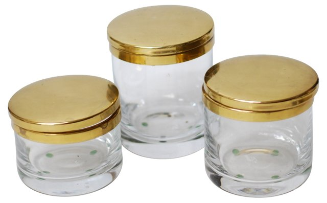 Brass & Glass Canisters, S/3