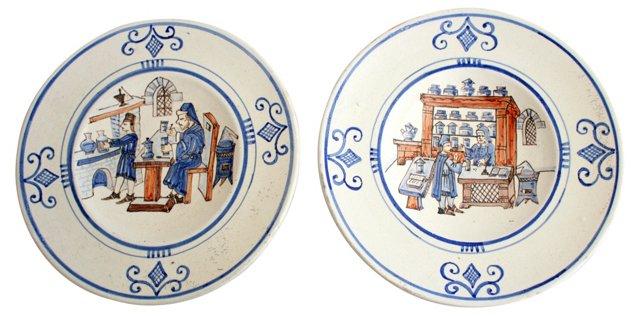 Italian Wall Plates, Pair