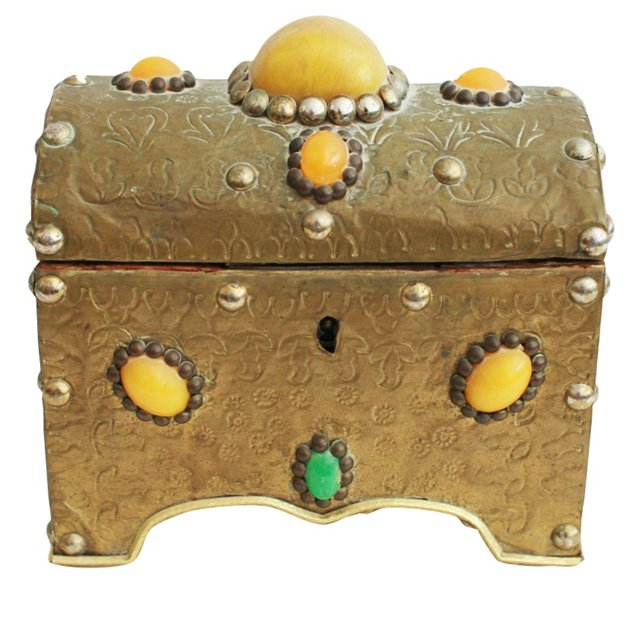 Brass-Covered Wood Box