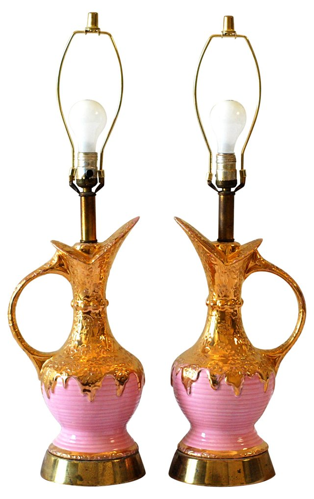 Pink & Gold Midcentury Lamps, Pair