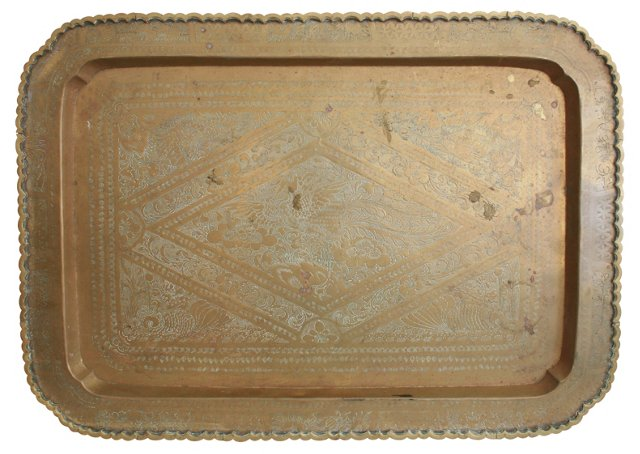 Oversized Indian Brass   Tray