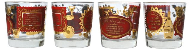 Red & Gold Whiskey Sour Tumblers, S/4