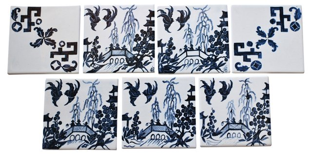 Blue & White Hand-Painted Tiles, S/7