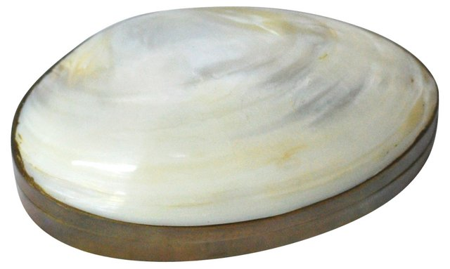 Shell-Topped Brass Box