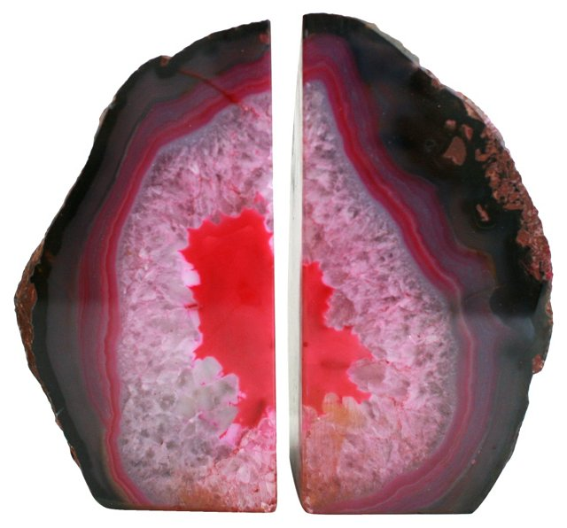 Pink & Black Agate Bookends