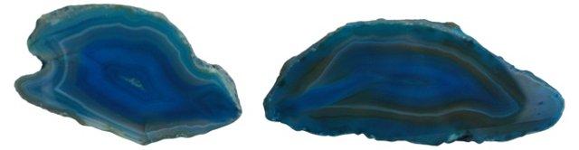 Blue Agate Half Geodes, Pair