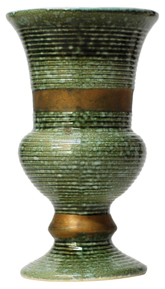 Green & Gold Midcentury Vase
