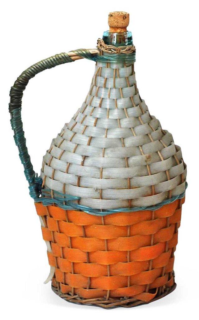 Gray & Orange Encased Wine Jug