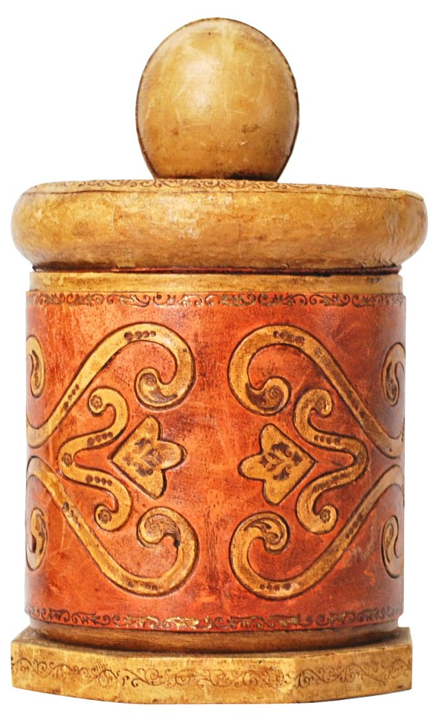 Hand-Tooled Italian Leather Canister