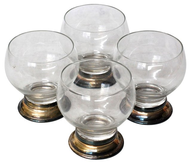 Silverplate Lowball Glasses, S/4