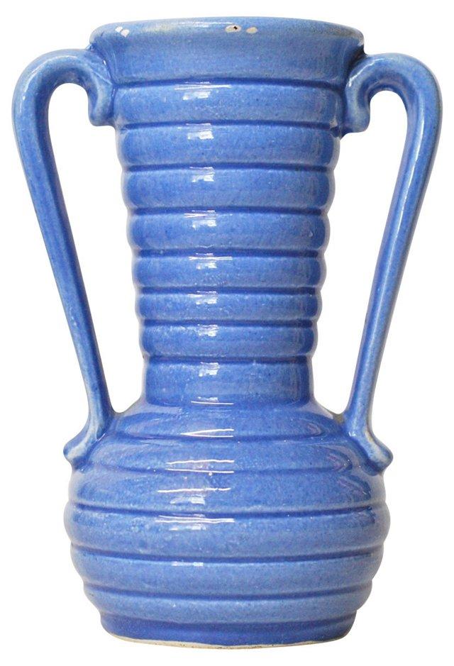 Blue Double-Handled Vase