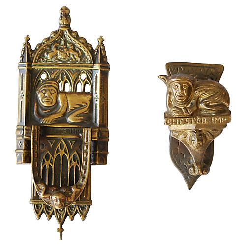 Chester Imp Brass Door Knockers, Pair