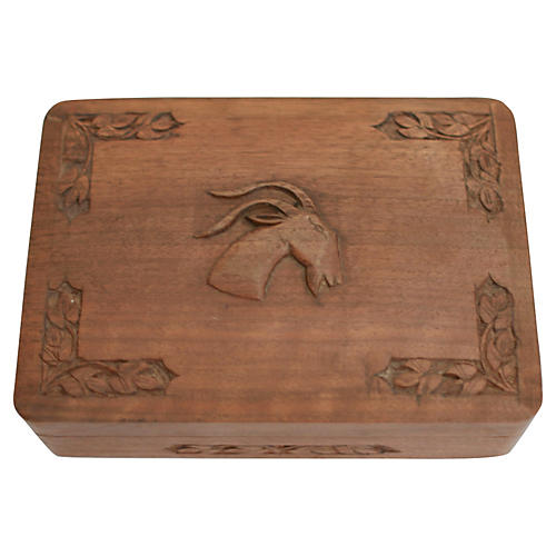 Hand-Carved Wood Box