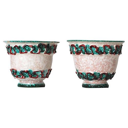 Italian Ceramic Pots, Pair