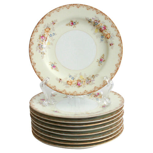 Hand-Painted Lunch Plates, S/9
