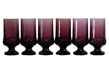 Purple Glass Stemware, S/6