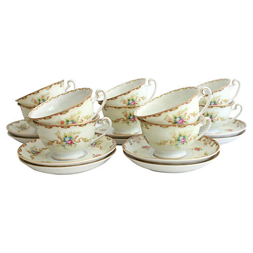 1940s Teacups & Saucers, Svc. for 10
