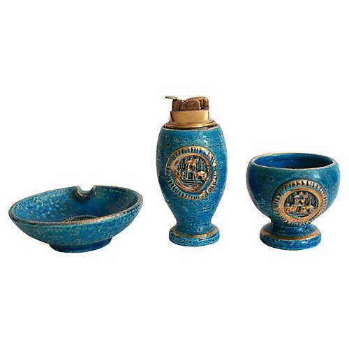Italian Pottery Smoke Set, 3 Pcs
