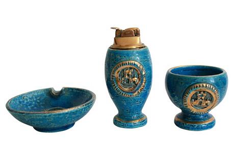 Italian Pottery Smoke Set, 3 Pcs.