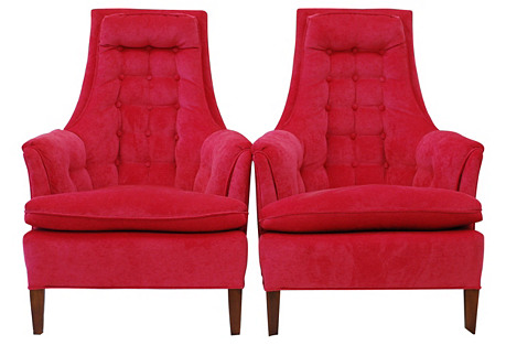 1960s High-Back Chairs, Pair