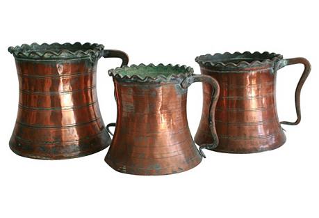 Antique Copper Pitchers, Set of 3