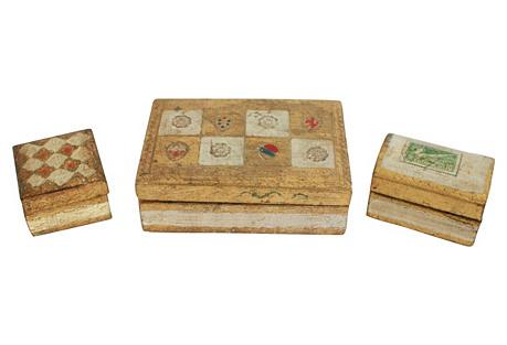 Florentine Wood Boxes, S/3