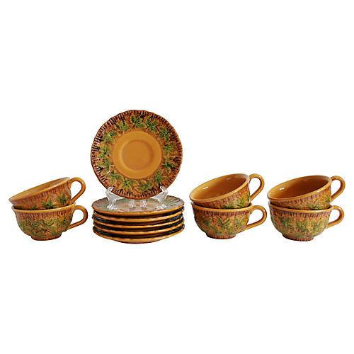 Italian Majolica Cups & Saucers, 12-Pcs