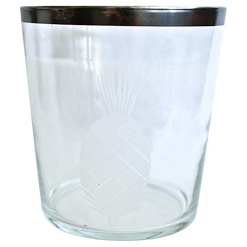 Silver-Rimmed Pineapple Ice Bucket