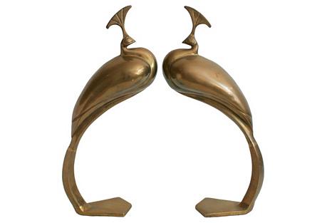 Modern Brass Peacocks, S/2