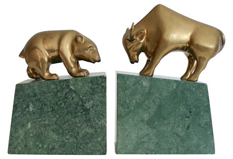 Bull & Bear Brass & Marble Bookends