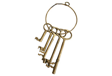 Brass Skeleton Keys on  Ring