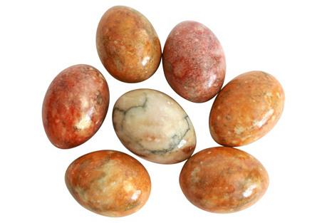 Italian Alabaster Eggs, Set of 7