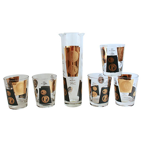 Currency Barware, 6-Pcs