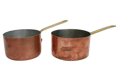 Copper  Pots, Pair